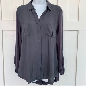 Converse Dark Gray Button Up Silky Rayon Blouse